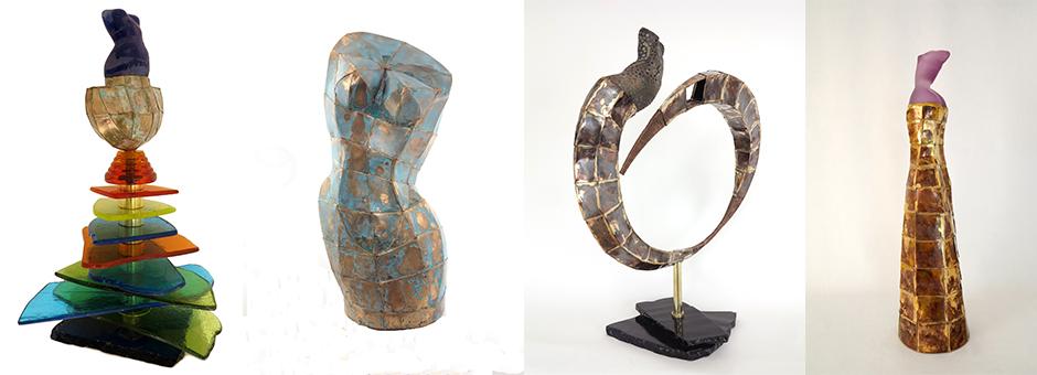 Sculptures en mélange de verre terre et bronze